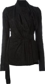 Rick Owens , Wrap Fitted Jacket Women Cottoncalf Leatherlamb Skincupro 38, Black
