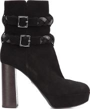 Ritch Erani Nyfc , Braided Strap Boots Women Leathersuede 38, Black