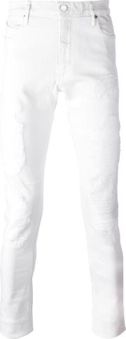 Road To Awe , Distressed Slim Fit Jeans Men Cottonpolyesterspandexelastane 31, White