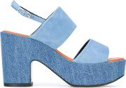 Robert Clergerie , Platform Sandals Women Cottonleathergoat Suede 38, Blue