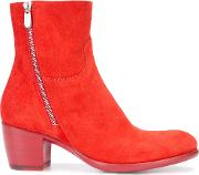 Rocco P , . Zipped Boots Women Leathersuede 35.5, Red