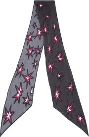 Rockins , 'explosions' Printed Skinny Scarf Women Silk One Size, Black