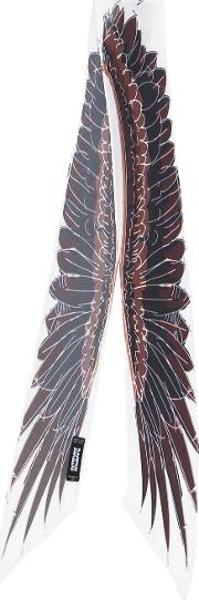 Rockins , Wings Print Super Skinny Scarf Women Silk One Size, White