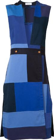 Rodebjer , Patchwork Sleeveless Midi Dress Women Recycled Cotton M, Blue