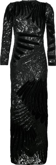 Romance Was Born , Feather Applique Gown Women Silkpolyestersequin 10, Black