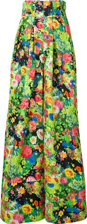 Rosie Assoulin , Floral Print Flared Pants Women Cottonviscose 2, Green