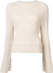 Ryan Roche , Cashmere Flared Sleeves Ribbed Jumper Women Cashmere S, Nudeneutrals