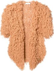 Ryan Roche , Furry Shorsleeved Cardigan Women Cashmere S, Nudeneutrals