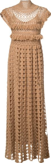Ryan Roche , High Neck Knitted Dress Women Acetatecashmere S, Women's, Brown