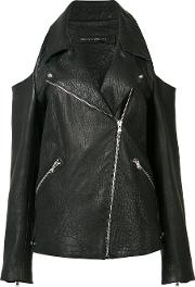 Sally Lapointe , Cold Shoulder Leather Jacket Women Leather 4, Black