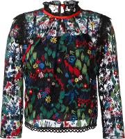 Saloni , Embroidered Tulle Blouse Women Polyester 12, Black