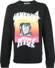 Sankuanz , Graphic Print Sweatshirt Men Cotton M, Black