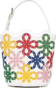 Sara Battaglia , Floral Bucket Bag Women Calf Leatherbrass One Size, White