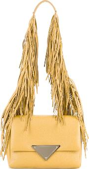 Sara Battaglia , Fringed Strap Shoulder Bag Women Calf Leather One Size, Women's, Yelloworange