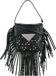 Sara Battaglia , Fringed Studded Tote Women Calf Leather One Size, Black