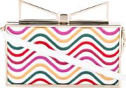 Sara Battaglia , Lady Waves Clutch Women Bos Taurusleather One Size, White