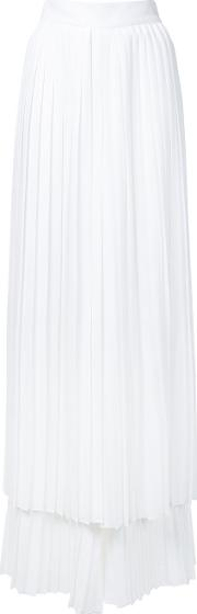 Sara Battaglia , Pleated Layered Trousers Women Polyester 42, White