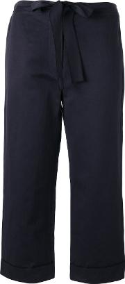 Sara Lanzi , Belted Cropped Trousers Women Cottonlinenflax S, Black