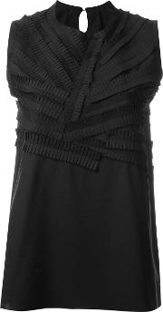 Sara Lanzi , Frill Detail Top Women Cotton S, Black