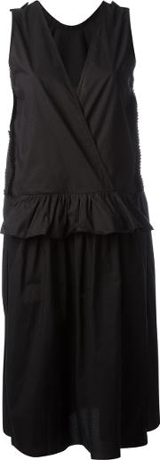 Sara Lanzi , V Neck Dress Women Cotton L, Women's, Black