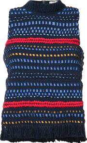 Sea , Knitted Tank Top Women Cotton S, Blue
