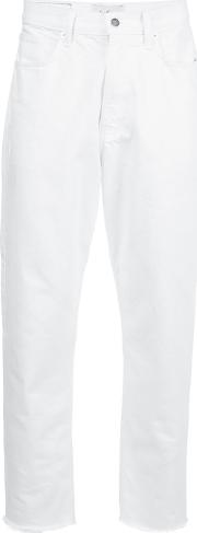 Secondlayer , Secondlayer Cropped Straight Trousers Men Cotton 34, White