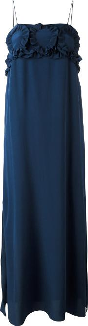See By Chloe , Long Ruched Bust Dress Women Silk 38, Blue