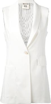 Semicouture , One Button Gilet Women Polyesterspandexelastaneviscose 44, White