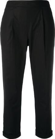 Semicouture , Pleat Detail Cropped Trousers Women Cotton 40, Black