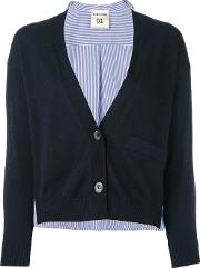 Semicouture , Stripe Back Cardigan Women Cotton Xs, Blue
