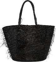 Sensi Studio , Layered Straw Tote Women Straw One Size, Women's, Black