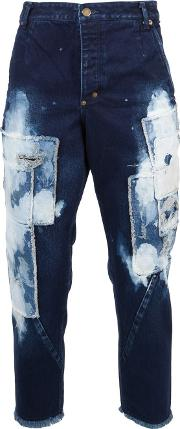 Song For The Mute , Bleached Patchwork Jeans Men Cotton 46, Blue