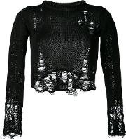 Song For The Mute , Distressed Cropped Sweater Women Cotton Xs, Black