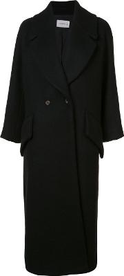 Song For The Mute , Long Double Breasted Coat Women Wool 36, Black