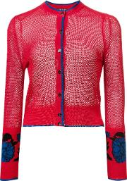 Sophie Theallet , Garden Jacquard Cropped Cardigan Women Silk 4, Red