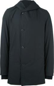 Stephan Schneider , Asymmetric Hooded Coat Men Cotton V, Black