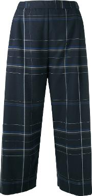 Stephan Schneider , Checked Cropped Trousers Women Cotton S, Blue