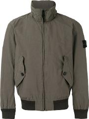 Stone Island , Ribbed And Shell Trimmed Windbreaker Men Cottonpolyamidepolyurethane Resin Xl, Green