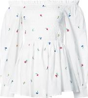 Suno , Floral Embroidered Ruched Off Shoulder Top Women Cotton 2, White