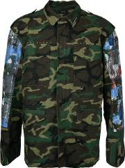 Taakk , Arm Patches Camouflage Jacket Men Cotton 1, Green