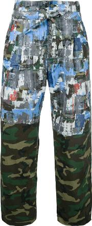 Taakk , Camouflage Straight Trousers Men Cotton 1, Green