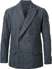 Taakk , Pinstripe Double Breasted Blazer Men Polyesterwool 2, Grey