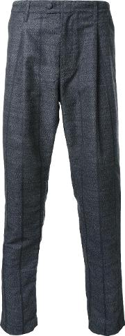 Taakk , Pinstripe Pleated Detailing Trousers Men Polyesterwool 2, Grey
