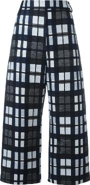 Ter Et Bantine , Checked Cropped Trousers Women Cottonpolyamideacetatecupro 42, Black