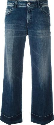 The Seafarer , Cropped Flared Jeans Women Cottonpolyurethane 25, Blue
