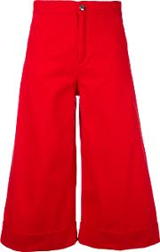 The Seafarer , Flared Cropped Trousers Women Cotton 25, Red