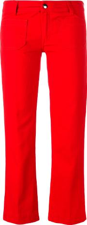 The Seafarer , Straight Cropped Jeans Women Cotton 28, Red