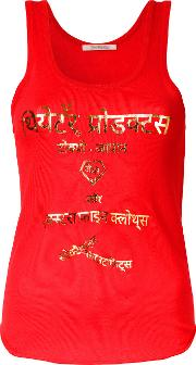 Theatre Products , Metallic Lettering Print Tank Women Cottonacrylic One Size, Red