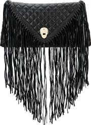 Thomas Wylde , Fringed Quilted Clutch Women Lamb Nubuck Leather One Size, Black