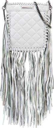 Thomas Wylde , Fringed Quilted Crossbody Women Lamb Nubuck Leather One Size, Grey